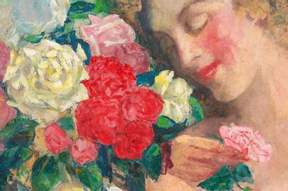Paul CIROU (1869-1951) Young woman with flowers Oil on canvas Signed lower left...