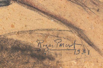 Roger PARENT (1881-1963) Femme nue allongée Fusain, lavis d'encre et aquarelle sur...