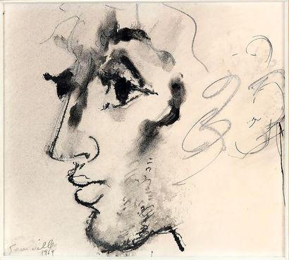 Roger SOMVILLE (1923-2014) Portrait de profil...