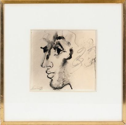 Roger SOMVILLE (1923-2014) Portrait in profile Pencil, ink and wash on paper Signed...