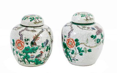 Chine, vers 1900 Paire de pots à gingembre...