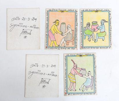 Frédéric BRULY BOUABRE (1923-2014) La concorde humaine , 2009 (Set of five drawings)...