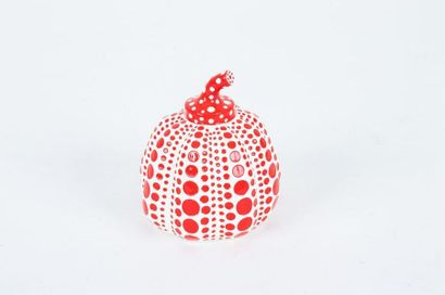 After Yayoi KUSAMA Red pumpkin Painted resin sculpture Carries the artist's copyright...