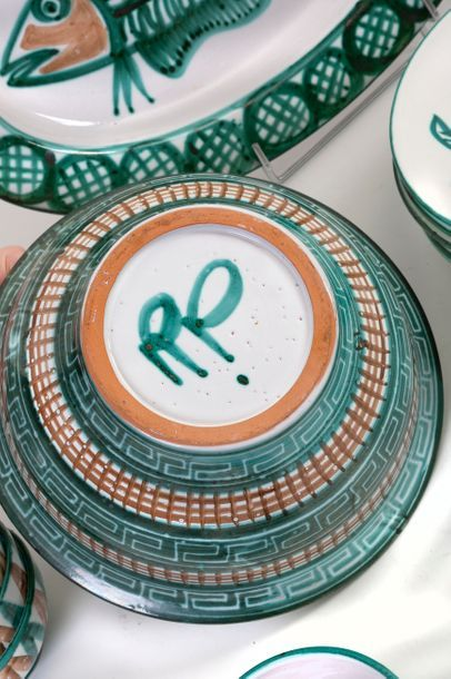 Robert PICAULT (1919-2000) and VALLAURIS Set of 30 glazed ceramic pieces, each signed,...