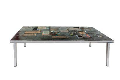 Pia MANU (XXe) Table basse rectangulaire...