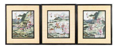 Chine, XXe siècle Série de trois plaques...