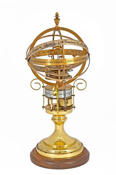 Horloge astronomique Orrery clock en cuivre...