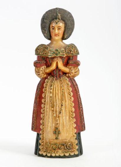 Jeune fille en prière Cire polychromée Époque...