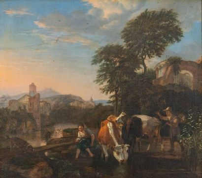 Abraham BEGEYN (1637-1697) La halte des vachers...