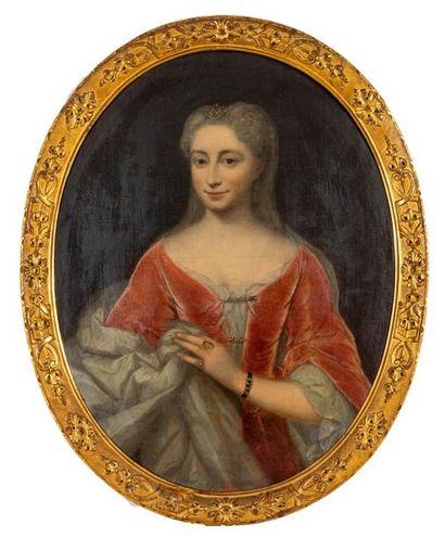 École française, XVIIIe Jeune femme à la...
