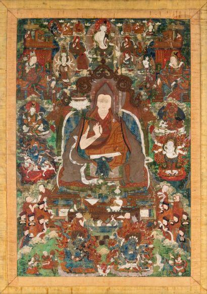 Tibet, XIXe siècle Tangka représentant Tsongkhapa...