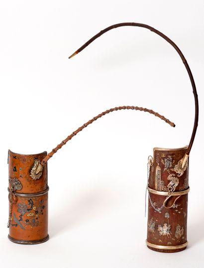 Indochine, XIXe siècle Lot de deux pipes...
