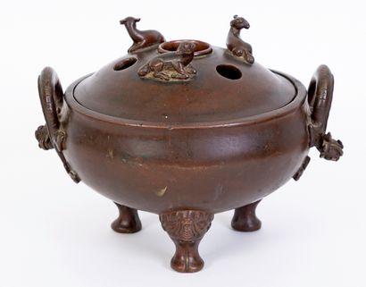 Chine, époque Qianlong (1736-1795) Rare brûle-parfum...