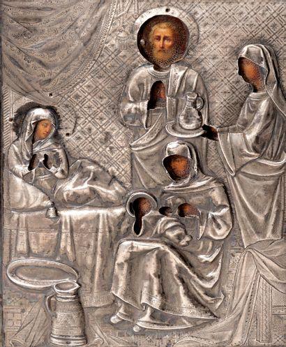 Le baptême de la Vierge Icône peinte sur bois Rizla en argent repoussé 84 zolotniks...