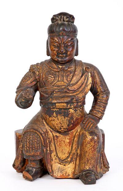Chine, XVIIIe siècle Statue en bois sculpté,...