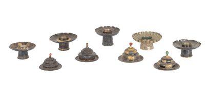 Tibet, XIXe siècle Lot de quatre couvercles...