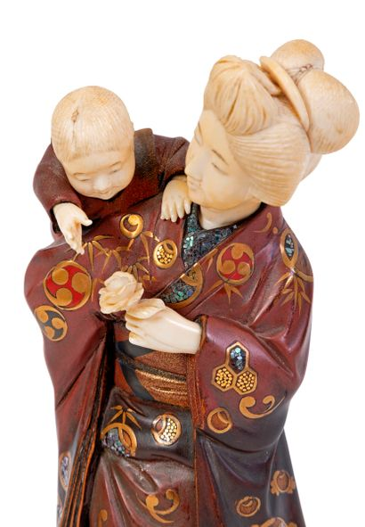 Japon, XIXe siècle, époque Meiji (1868-1912) Okimono en bois sculpté, laqué, incrusté...
