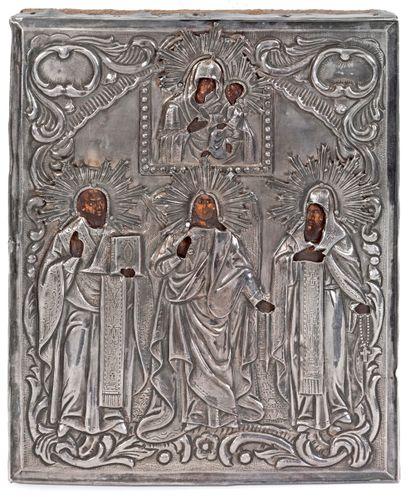 Le Christ entouré de Saints sous la Vierge...