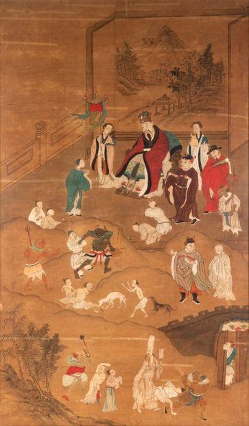 Chine, XIXe siècle Gouache et aquarelle sur...