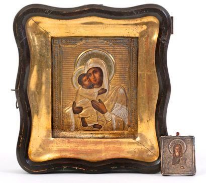 Vierge à l'enfant Icône peinte sur bois...