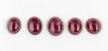 Set of five ruby cabochons for a total of...