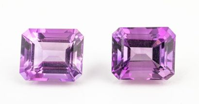 Duo of rectangular amethysts with cut sides...
