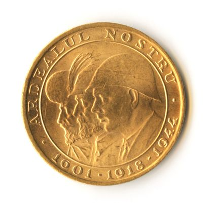 Romania - 20 Lei commemorative gold coin of 1944 depicting the three kings of Romania...