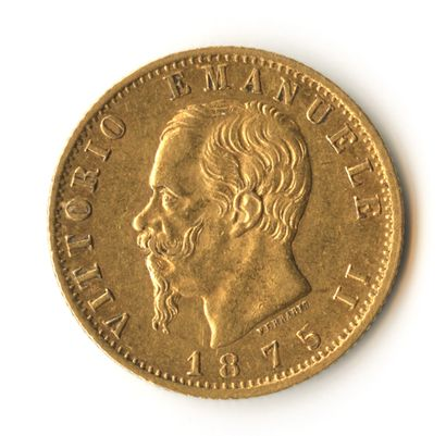 Italy - Gold coin of 20 lire of 1875 R showing...
