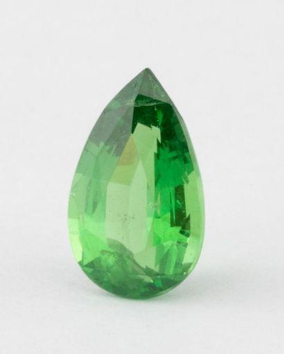 Tsavorite garnet weighing 1.14 carats, pear-sized....