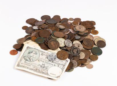 Lot de monnaies métalliques diverses dont...