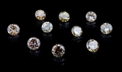 Lot of ten intense yellow to fancy orangy light yellow diamonds, all around 0.15...