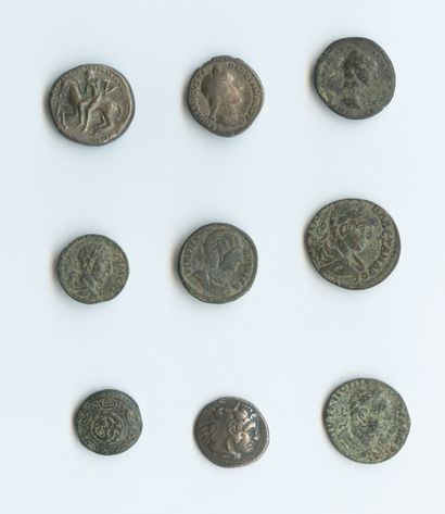 Set of 3 silver and 6 bronze coins. Roman...