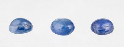 Set of three translucent blue sapphire cabochons...