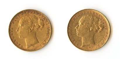 England - Set of two gold sovereigns depicting...