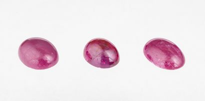 Set of three oval opaque ruby cabochons for...