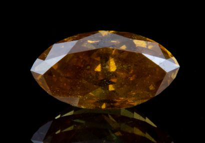 Fancy Intense Brownish Orangy Yellow diamond of 0.53 ct., marquise cut, quality...