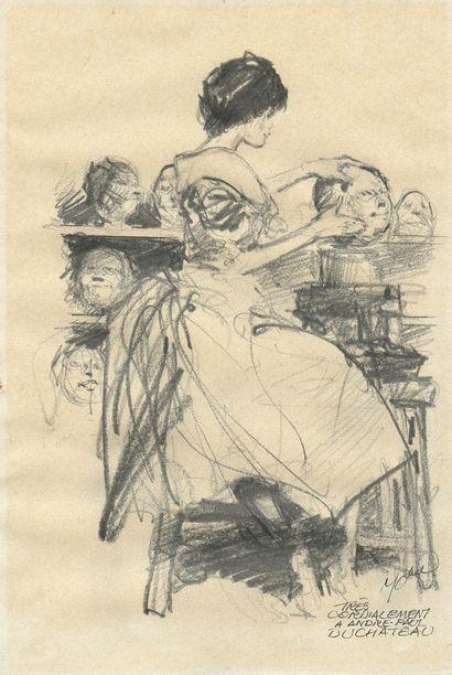 Follet : Terreur , illustration au crayon gras relative à cette série publiée aux...