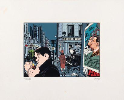"""Tardi : Nestor Burma , sérigraphie """" Le Corbeau """" n°044/199, signée (Ed. Desbois)...."""