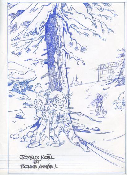Krings : Violine , illustration à l'encre bleue et à la mine de plomb réalisée pour...