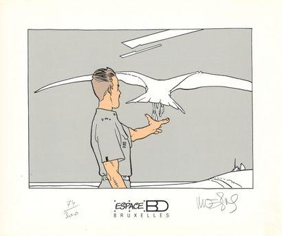 "Moebius : Ex-Libris sérigraphié "" Major Fatal "" n°74/300, signée (Ed. Espace BD,..."