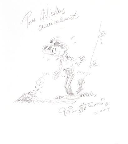 Attanasio : Ensemble de trois illustrations sur papier dessin. La première, à la...