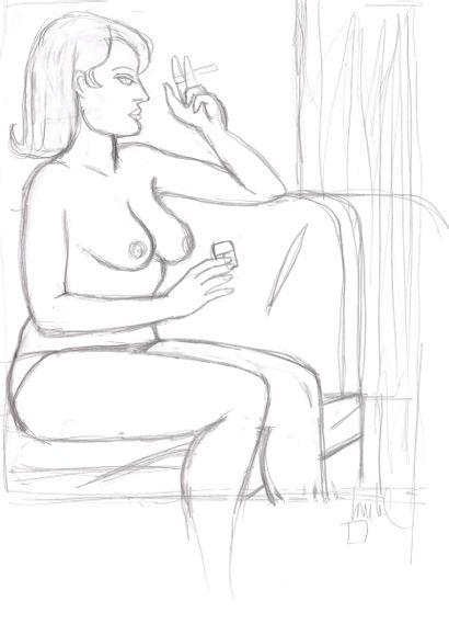 Loustal : Avant le noir , illustration à la mine de plomb représentant une femme...