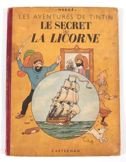 Tintin : Tintin en Amérique (B1, 1947) et Le Secret de la Licorne (B1, 1947, dédicace...