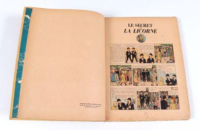Tintin : Le Secret de la Licorne , édition de 1946 (B1, dos jaune, papier épais).Bon...