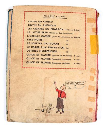 Tintin : Tintin au Congo , édition noir & blanc grande image de 1942 (A18). Mauvais...