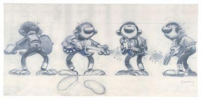 """Franquin : Gaston , offset """"Le Rock à Gaston"""" n°189/500 (Ed. Khani, 2010). C e dessin..."""