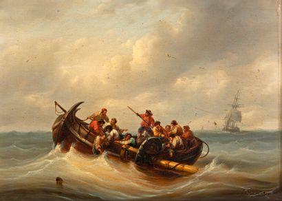 François MUSIN (1820-1888) La barque des...
