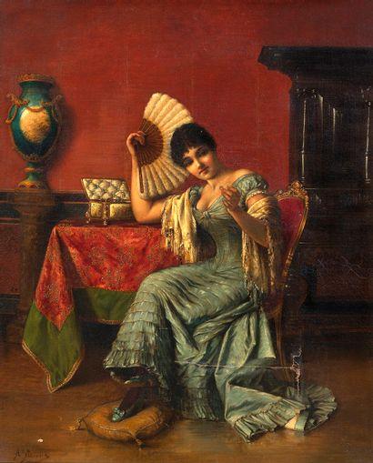 Agapit STEVENS (1849-1917/24) Dame regardant...