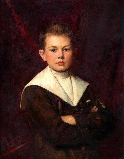 Léon HERBO (1850-1907) Portrait d'un jeune...
