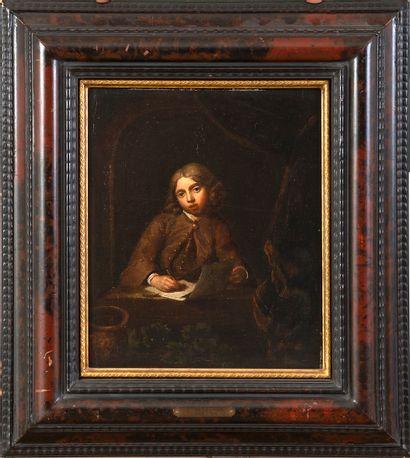 École hollandaise du XVIIIe siècle, suiveur de Gérard DOU (Leyde, 1613 - 1675) Portrait...